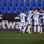 El Leganés celebra un gol ante el Almería