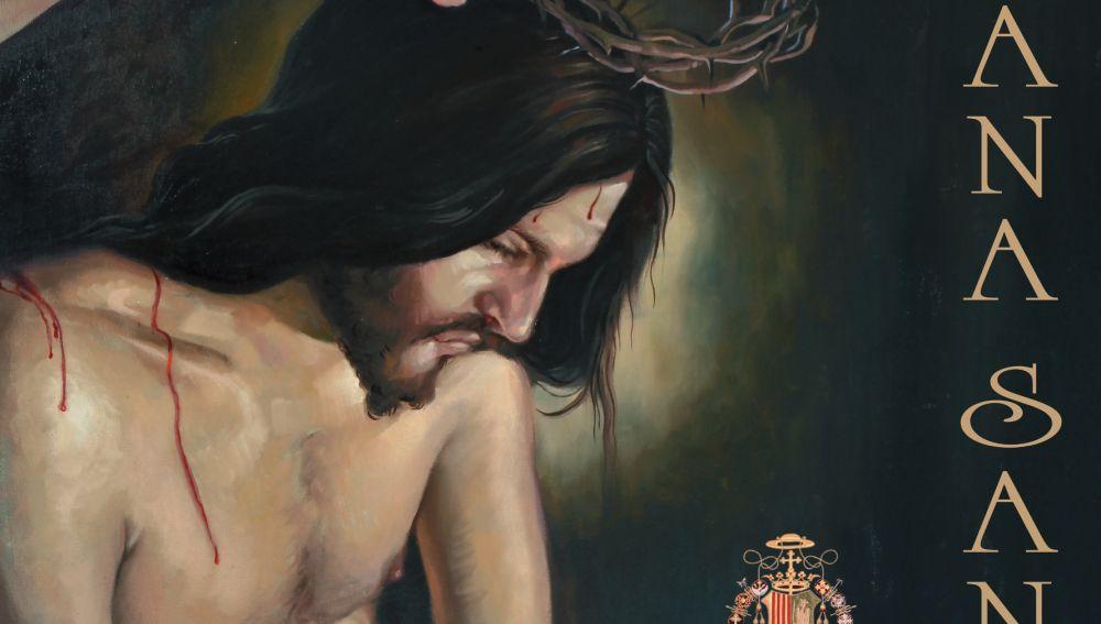 Este cartel nos presenta un Cristo Humano en actitud de total meditación, sin calles, sin adornos, con colores apagados y tonos poco luminosos