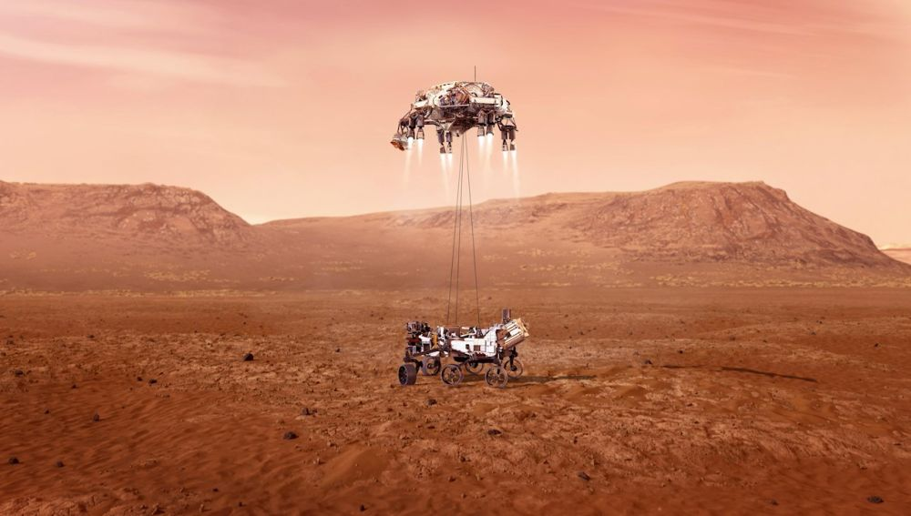 Fotografía cedida por la Administración Nacional de Aeronáutica y el Espacio (NASA) que muestra una ilustración del rover Perseverance mientras aterriza de forma segura sobre la superficie de Marte