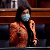 Margarita Robles, durante una intervención en el Congreso de los Diputados.