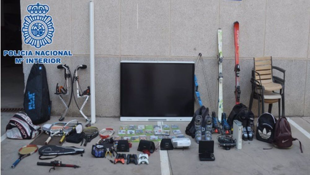 Objetos recuperados por la Policía Nacional
