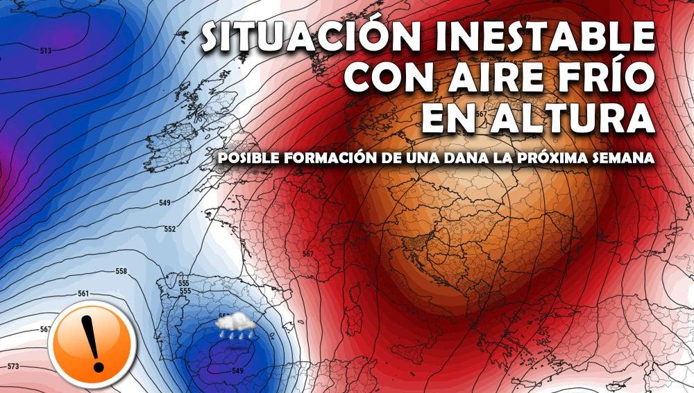 Proyecto Mastral informa que el aire frío en altura puede crear una DANA la próxima semana