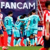Los jugadores del Levante celebran el gol de Morales ante el Atlético de Madrid