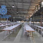 Uno de los pabellones de IFA preparado para las oposiciones a agentes de la Policía Nacional.