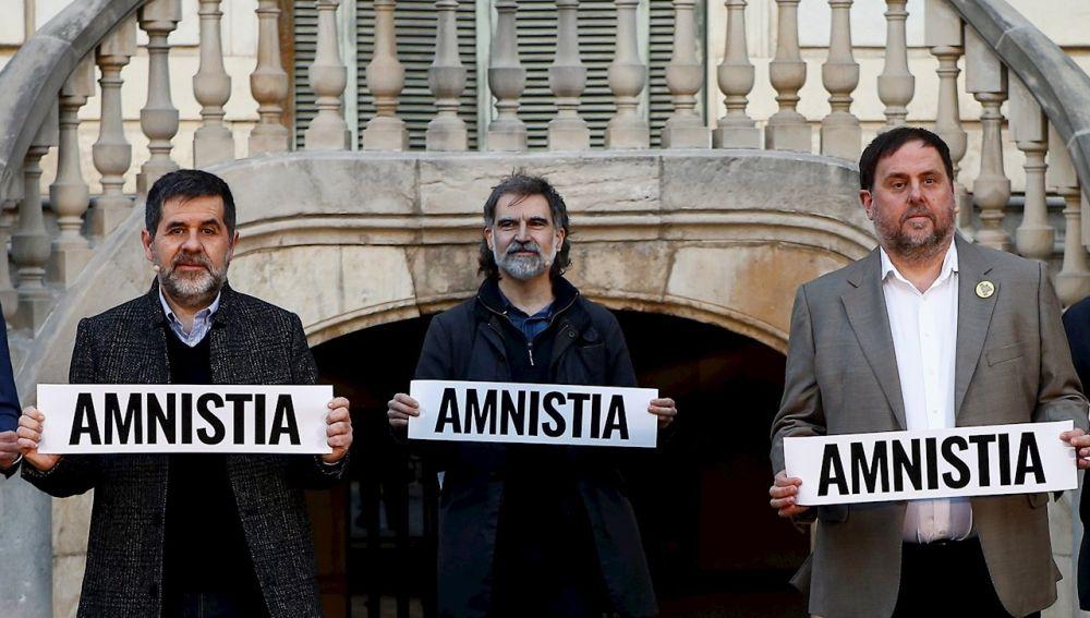 Los presos del procés: Oriol Junqueras (d), Jordi Sànchez (i), y Jordi Cuixart (c)