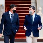 El presidente y el vicepresidente de la Junta de Andalucía, Juanma Moreno y Juan Marín