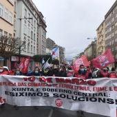 La manifestación, por las calles de Ferrol