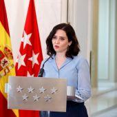 Isabel Díaz Ayuso durante su declaración institucional
