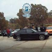 Momento de la concentración de vehículos denunciada por la Policía Local de Málaga