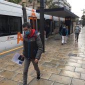 Una parada del tranvía