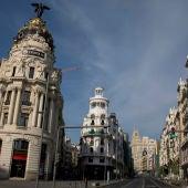 La Gran vía de Madrid, vacía