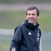 Ziganda, en un entrenamiento del Oviedo.