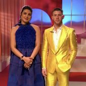 Pryanka Chopra-Jonas y Nick Jonas, durante la retransmisión de las nominaciones a los Oscar 2021