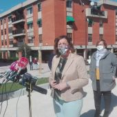 Patricia Franco durante su visita al Arco del Torreón
