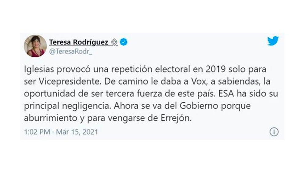 Tuit borrado por Teresa Rodríguez