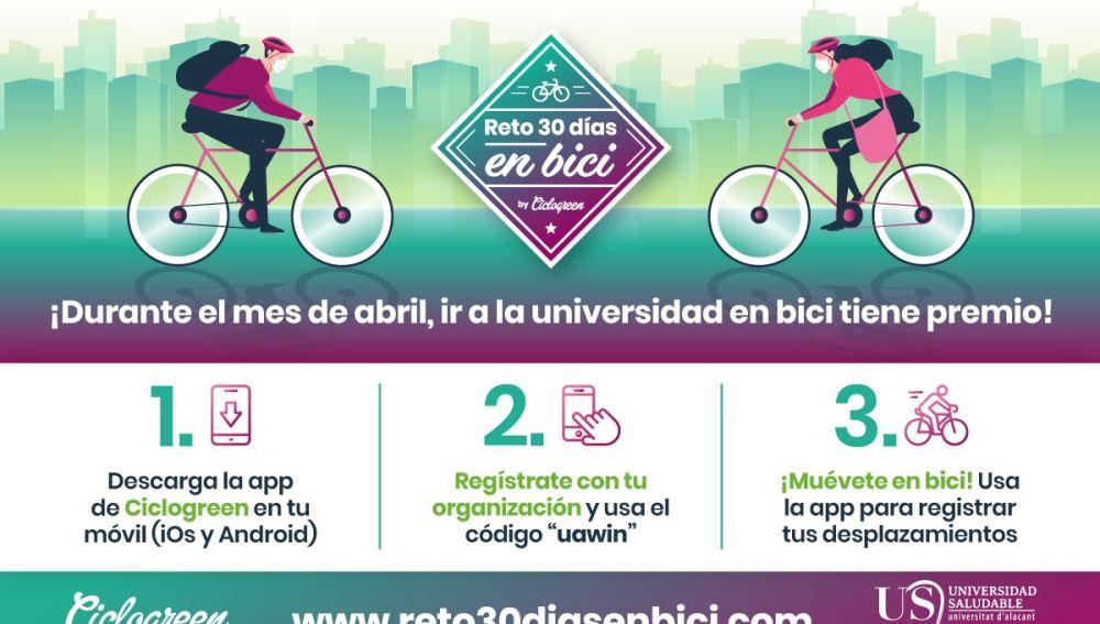 Cartel 'Reto 30 días' en bici