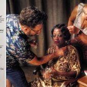 El maquillador español Sergio López-Rivera retoca a Viola Davis en el set de 'La madre del blues'