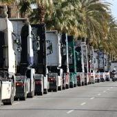 Protesta de camions en una imatge d'arxiu