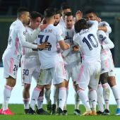 El Real Madrid celebra un gol en Champions