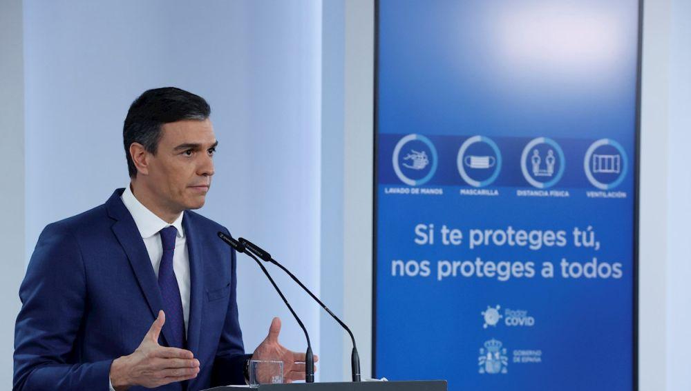 El presidente del Gobierno, Pedro Sánchez, en rueda de prensa tras la reunión del Consejo de Ministros, este martes en el Palacio de la Monclo