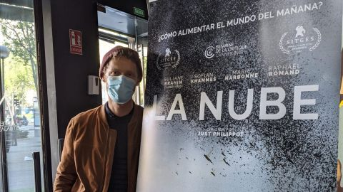 El director francés Just Philippot, durante la presentación de su película 'La nube' en Madrid