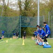 Los jugadores del Real Oviedo , en ujn entrenamiento.