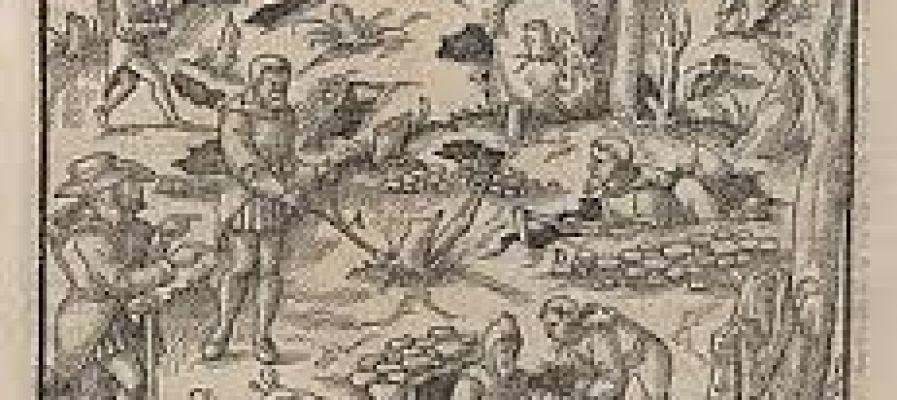 Grabado que muestra la labor ancestral de los zahoríes