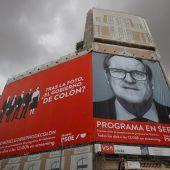 La Junta electoral pide al PSOE la retirada inmediata del cartel de Gabilondo en Callao