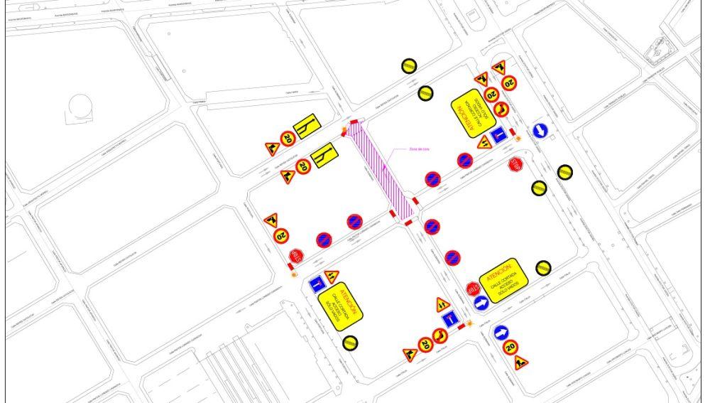Plano de las calles afectadas