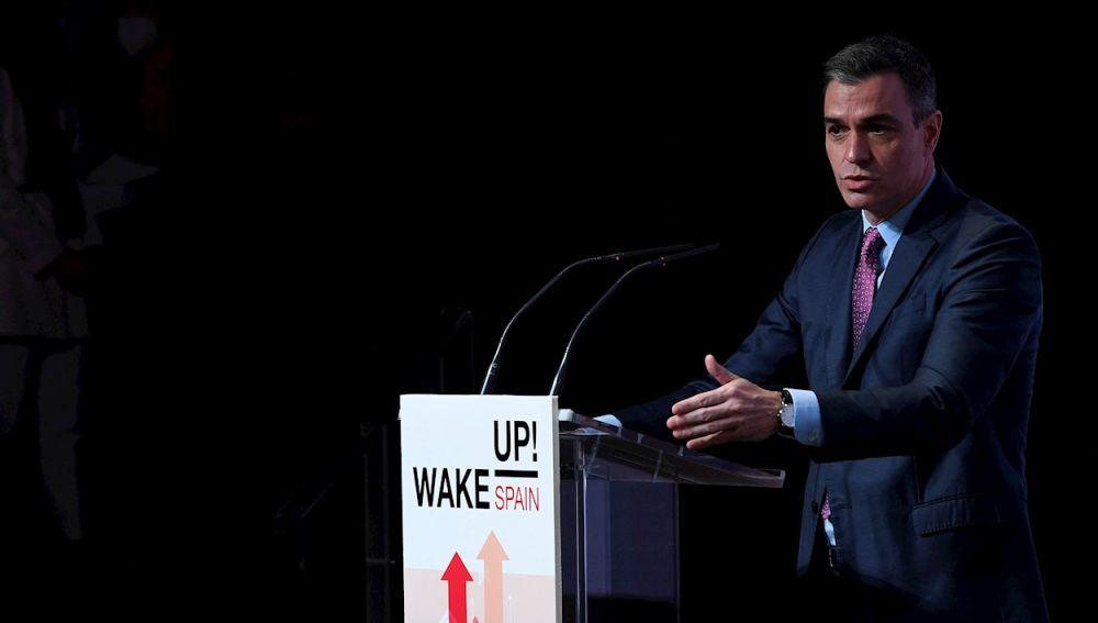 El presidente del Gobierno,  Pedro Sánchez, durante su intervención en el foro Wake up Spain!