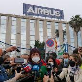 Teresa Rodríguez, durante una comparecencia de prensa en Airbus