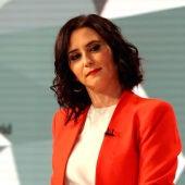 Isabel Díaz Ayuso, candidata del PP a la presidencia de Madrid, durante el debate