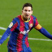 Messi celebra uno de sus goles ante el Getafe