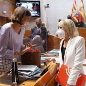 Las diputadas de PSOE y PP hablan, minutos antes de presentar el dictamen