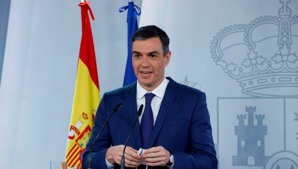 Pedro Sánchez, en una rueda de prensa en Moncloa.