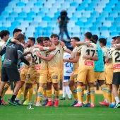 Los futbolistas del Espanyol celebran el regreso del equipo a Primera.