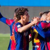 El FC Barcelona B celebrando un gol