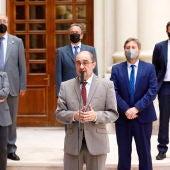 El presidente Lambán, durante una rueda de prensa