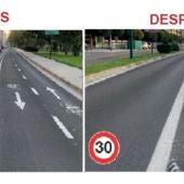 En vías urbanas con dos carriles por sentido de circulación, siendo uno reservado para bicicleta, el límite genérico de velocidad será de 30 km/h.