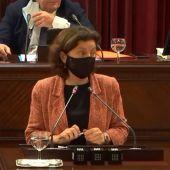 La Consellera de Asuntos Sociales, Fina Santiago, en una comparecencia en el Parlament balear.