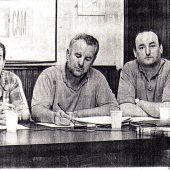 Imagen de archivo. De izquierda a derecha, Manuel Sarrión, Cayo Lara y Gregorio Sánchez Yébenes.