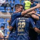 UCAM Murcia CF celebra un gol en el Besoccer La Condomina
