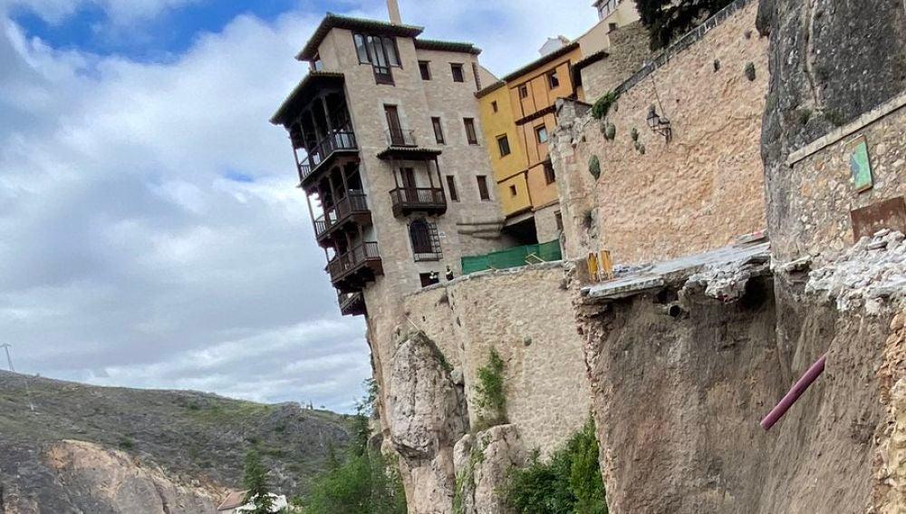 Derrumbe del principal acceso a las Casas Colgadas de Cuenca