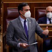 Pedro Sánchez, durante la sesión de control al Gobierno en el Congreso de los Diputados
