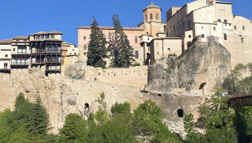 Aspecto de la zona tras el derrumbe de la calle Canónigos de Cuenca