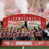 El Atlético de Madrid celebra el título de Liga en el Wanda
