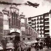 Foto histórica del Mercado Central de Alicante durante la Guerra Civil