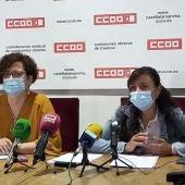 Vidal y Mesas durante la rueda de prensa en la sede del sindicato, este lunes en la ciudad de Cuenca