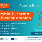 Cartel de la nueva lanzadera de empleo en Puerto Real