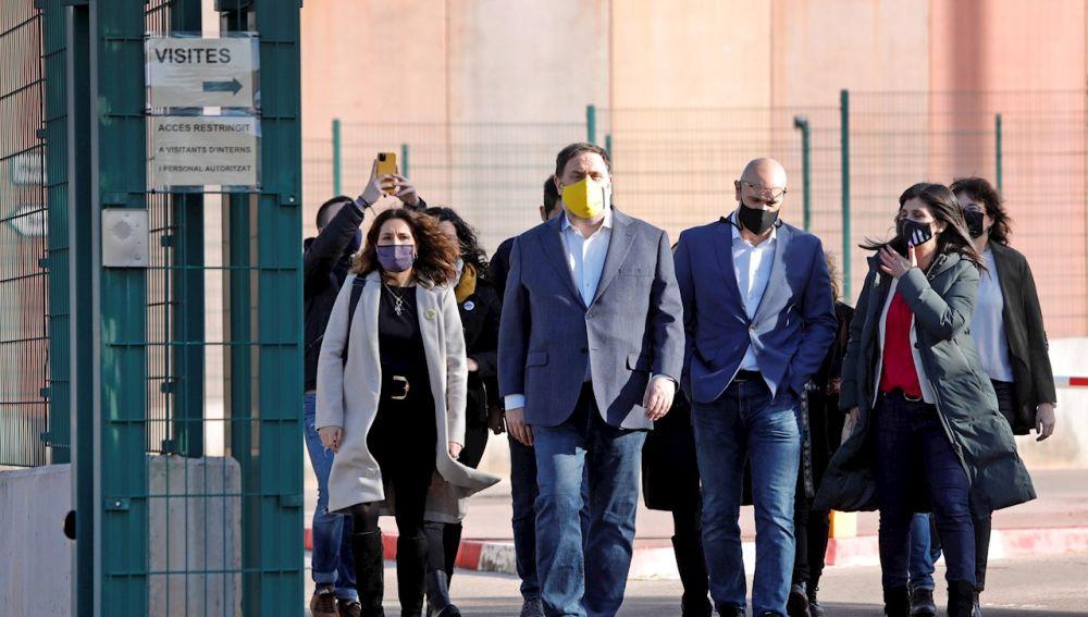 Oriol Junqueras junto a otros presos condenados por el procés